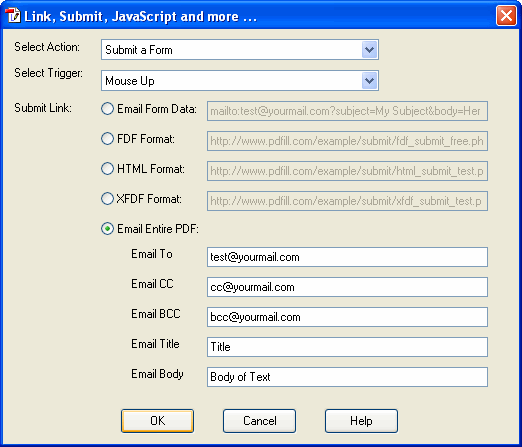 for page send email example submit html