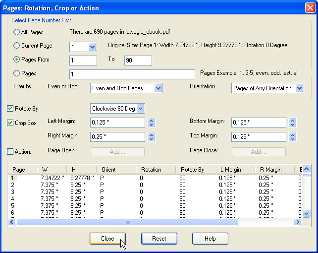 How to Rotate and Crop PDF Page, Add PDF Page Action