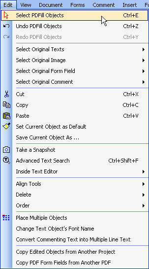 How to work with Edit Menu in PDFill PDF Editor