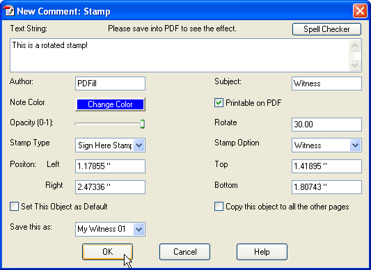 Pdf comment markup tools add stamp comment to a pdf document properties for dynamic stamps with option to use the date and user when the pdf is opened ccuart Images